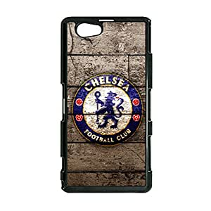 Vintage Graceful Cover Case Chelsea FC Logo Phone Case Snap on Sony Xperia Z1 Compact Chelsea Mark Back Cover