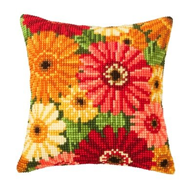 Gerbera Cushion Front Chunky Cross Stitch Kit Chunky Cross Stitch