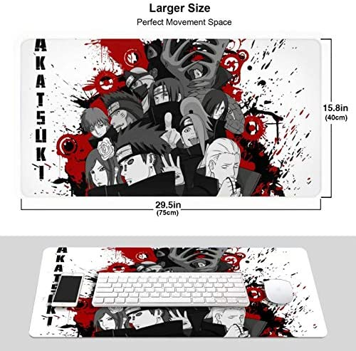 Anime Naruto Akatsuki Itachi Pain Gaming Keyboard and Mouse Pad Large Extended Gamer Mouse Mat Non-Slip Rubber Full Desk Mousepad for Computer Laptop Office 15.8 x 29.5 Inch