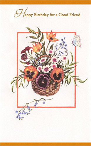 Good Friend Flower Basket - Freedom Greetings Friend Birthday Card (Wicker Bugs Basket)