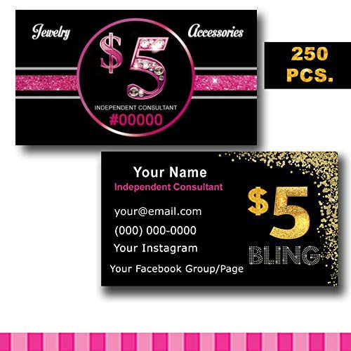 Custom Business Cards Jewelry Seller 2''x3.5'' for Independent Consultant Jewelry and Accessories Promotional items, Customize with Your own Info. by Tremendousdesigns.co