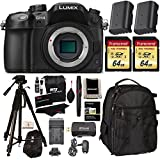 "Panasonic LUMIX DMC-GH4KBODY 16.05MP Digital Single Lens Mirrorless Camera with 4K Cinematic Video (Body) + 2x Transcend 64GB U3 + 72"" Polaroid Tripod + 2 Batteries + Large Backpack + Charger + Premium Accessories Bundle"