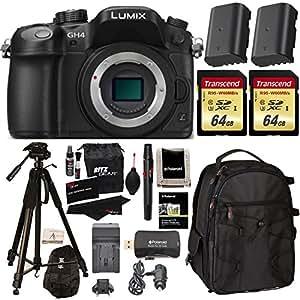 "Panasonic LUMIX DMC-GH4KBODY 16.05MP Digital Single Lens Mirrorless Camera with 4K Cinematic Video (Body) + 2x Transcend 64GB U3 + 72"" Polaroid Tripod + 2 Batteries + Large Backpack + Charger + Premium Accessories Bundle"