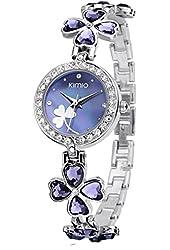KIMIOLadies Quartz Bracelet Wristwatch Lucky Grass Flower Watch Daily Stainlessl Purple