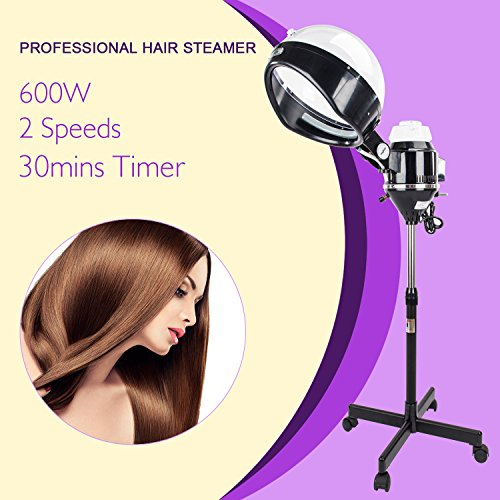 Mefeir Upgraded 600W Hair Steamer Machine with Hood,Adjustable Timer Rolling Floor Iron Stand Base,Portable Salon Color Process for Natural Hair Beauty Spa Equipment by Mefeir