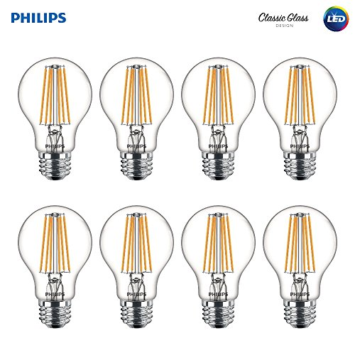 Philips LED 469734 60 Watt Equivalent Clear Glass A19 Dimmable Light Bulb with Warm Glow Effect, Soft White, 8 Pack, Piece