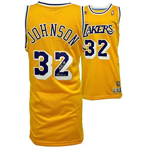 ecb338e0247 hot sale adidas Magic Johnson Los Angeles Lakers Autographed Swingman Jersey  with