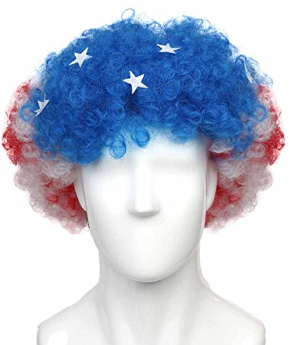 United-States National Team Country Flag Afro Cosplay Party Costume Wig