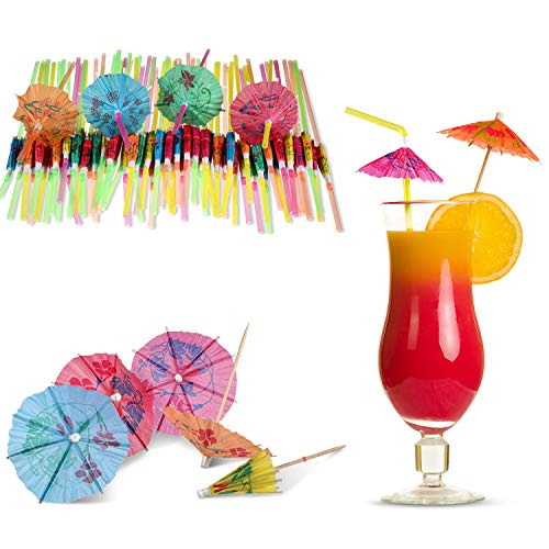 Yaomiao 100 Pieces Umbrella Drinking Straws Disposable Bendable Drinking Straw and 100 Pieces Cocktail Umbrellas Picks for for Luau Hawaii Beach Party