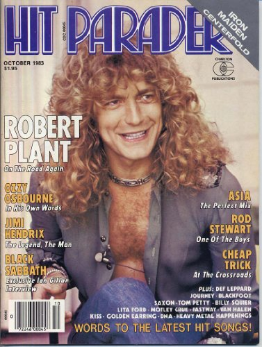 (Hit Parader Magazine October 1983 ROBERT PLANT Black Sabbath IRON MAIDEN CENTERFOLD Cheap Trick ASIA Kiss ROD STEWART (Hit Parader Magazine) )