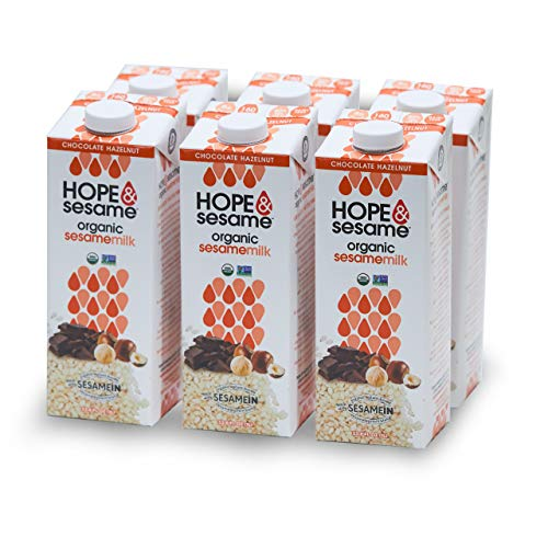 Hope & Sesame Organic Sesame Milk (Chocolate Hazelnut, 6-pack): USDA Organic Non Dairy Milk | Non-GMO, Lactose-Free, Nut-Free, Soy-Free, Gluten-Free | Recyclable BPA-free 1L Boxes