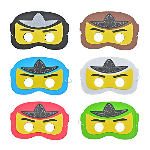 KREATWOW Ninja EVA Masks for Lego Ninjago Themed Birthday Party Supplies 12 Pack -