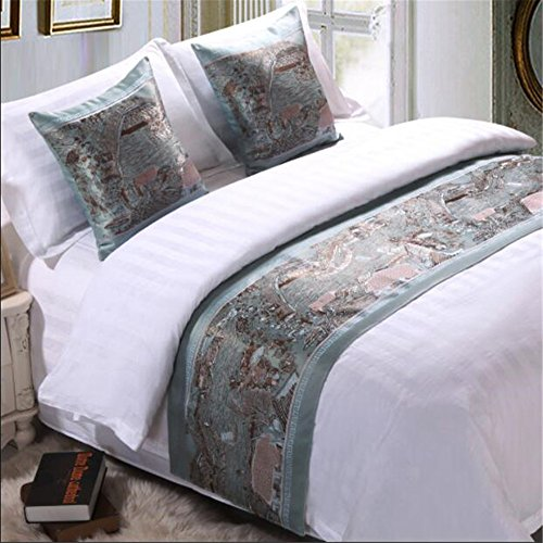 YIH Bed Runner And Pillow Set, Bedroom Hotel Guesthouse Decorative Bedding End Scarf Deluxe 94 x 19 Inch by YIH