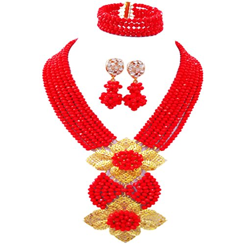 - aczuv Fashion African Bead Necklace Nigerian Beads Wedding Jewelry Sets for Women (Opaque Red)