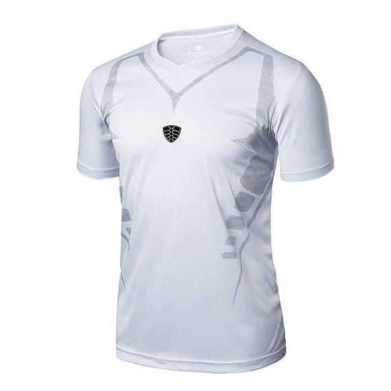 Camisetas Gimnasio Color Sólido Hombre LHWY, Remera Basicas Camisetas Suelto Cuello EN V Manga Corto
