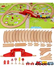 Wooden Train Set with Town Map-Shinington Railway Track Construction Building Toys for 3 years old Kids Boys Girls-Vehicles Transport Wooden Toys Gift for Toddlers 3 4 5 Years Old