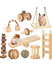 MQUPIN Hamster Toys Guinea Pig Chinchilla Rat Wooden Chew Accessories Dumbells Exercise Bell Roller Teeth Care Molar Toy for Birds Rabbits Gerbils,Natural Pine Fun Balls Small Pets Play (10 pcs)