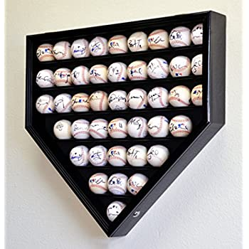 Image of 43 Baseball Ball Display Case Cabinet Holder Rack Home Plate Shaped w/98% UV Protection- Lockable –Black