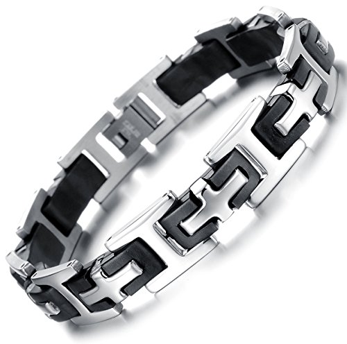 Ostan Men's Stainless steel cross chain link bracelet silver black