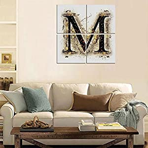 4 Pcs/set Modern Painting Canvas Prints Wall Art For Home Decoration Letter M Print On Canvas Giclee Artwork For Wall DecorLanguage Writing School Themed Name Initials in Fire Background Steamy Print