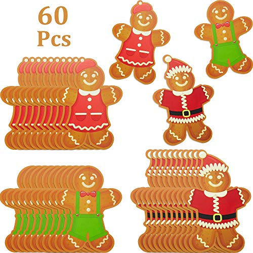 60 Pieces Mini Gingerbread Cutouts Gingerbread Cardboard Cutouts for Christmas Party School Bulletin Board Home Wall Decoration