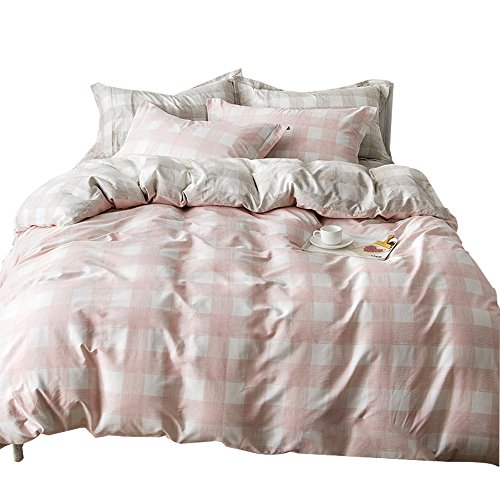 ORUSA Pink Kids Girls Bedding Sets Twin for Teen White Grey Gingham Plaid Twin Duvet Cover Set Reversible Comfortable, Style 1