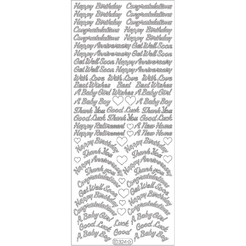 "UPC 499990218999, Assorted Words Peel Off Stickers 4""X9"" Sheet-Black"