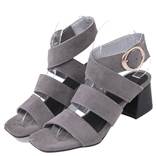 pour talon Vulusvalas ouvert femmes à gris Sandales 8SIIwq6xE