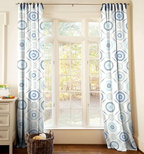 Carousel Designs Blue Modern Medallion Drape Panel 96-Inch Length Standard Lining 42-Inch Width by Carousel Designs