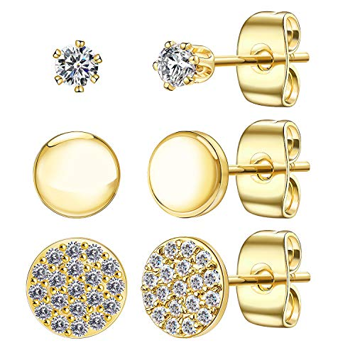 (Dot Stud Earrings for Women, Minimalist 14K Gold Plated Sterling Silver Tiny Disc Earrings, with Sparkle CZ Inlaid Simulated Diamond Round Circle Ear Stud Sets(Gold/3 Pairs))