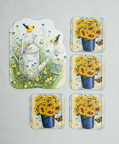 Yellow and Purple Flowers (Sunflowers, Pansies, and Bachelor's Buttons) Absorbent Beverage and Pitcher Coasters with Cork Backing (Pack of 5) Artwork By Deb Strain and Bonnie Range