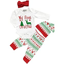 Christmas Baby Boys Girls My First Christmas Rompers Outfits Clothes Set(0-6 Months)