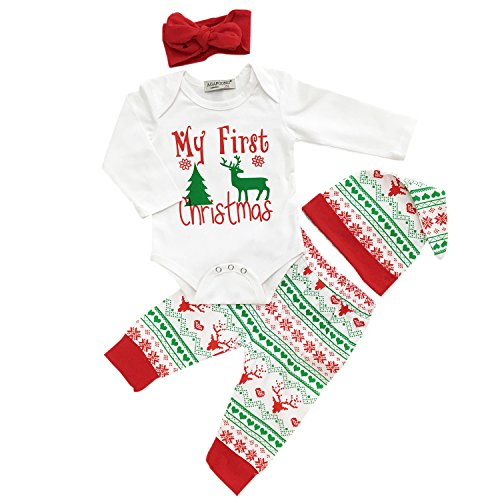 Christmas Clothes Girls - Oklady Christmas Baby Boys Girls My First Christmas Rompers Outfits Clothes Set(6-12 Months)