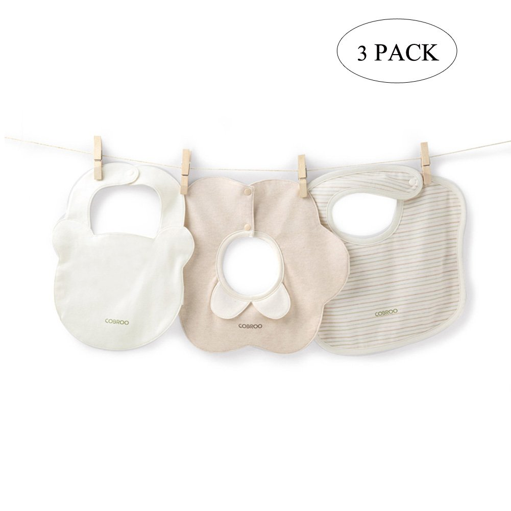 COBROO Newborn Baby Bib Set Khaki 100% Cotton Super Absorbent Floral Baby Bib for Boys and Girls 3 Pack (Style A) Le En #CA-YP510008F-A