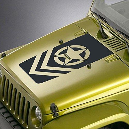 - Jeepazoid - Jeep Hood Decal for Wrangler TJ YJ JK - Army Star Chevron Blackout Sticker - Black