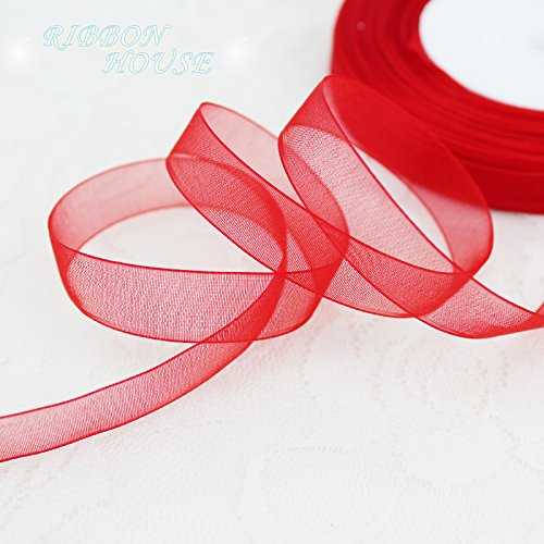 FunnyPicker (50 Yards/Roll) 1/2''(12Mm) Wholesale Red Organza Ribbons Gift Wrapping Decoration Christmas Ribbons
