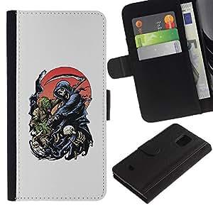 Be-Star la tarjeta de Crédito Slots PU Funda de cuero Monedero caso cubierta de piel Para Samsung Galaxy S5 Mini (Not S5), SM-G800 ( Reaper Grim Death Scythe Maiden )