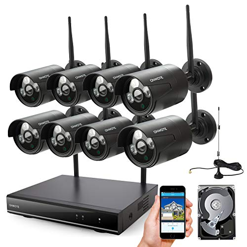 ONWOTE 8 Channel 1080P HD Wireless Security Camera System Outdoor with 2TB Hard Drive, 8CH 1080P NVR and 8 1080P 2.0MP WiFi IP Cameras with Night Vision