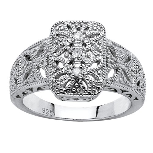 - Diamond Accent Platinum over .925 Sterling Silver Vintage-Style Filigree Ring Size 7