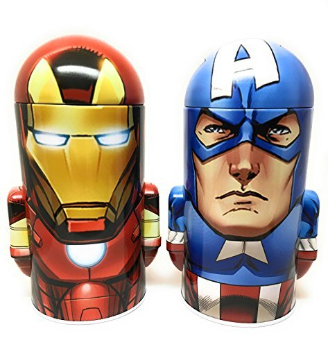 Marvel Comics Avengers Assemble Iron Man and Captain America Steel Coin Banks (Total of 2 Banks) by Marvel