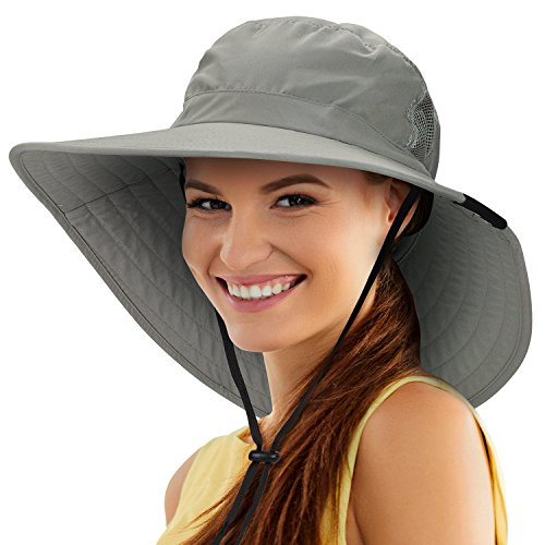 Tirrinia Unisex Sun Hat Fishing Boonie Cap Wide Brim Safari Hat with Adjustable Drawstring for Women Kids Outdoor Hiking Hunting Boating Desert Hawaiian by, Grey - Wide Brim Hat