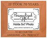 70th Birthday Gift It Took 70 Years Awesome Natural Wood Engraved 5×7 Landscape Picture Frame Wood