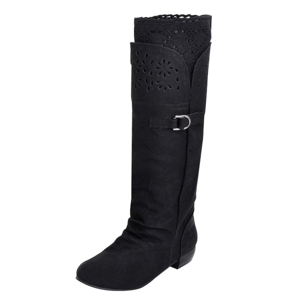 Pongfunsy Women Wide Calf Boots Women's High Tube Boots Flat Bottomed Knight Boots Single Boots Hollow Boots for Women Black by Pongfunsy