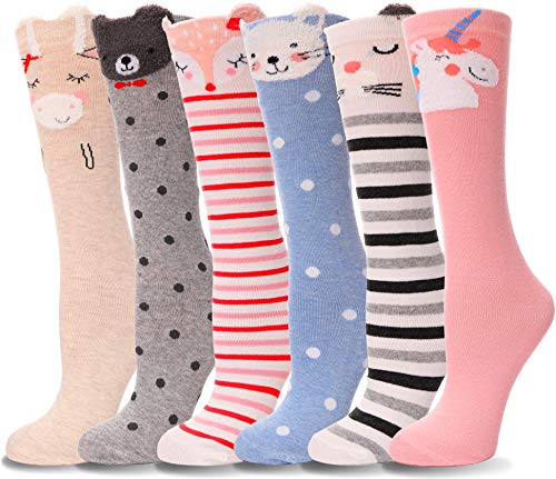 Girls Knee High Socks Soft Warm Cotton Lovely Novelty Socks Cute Animal Pattern 6 Pairs (4-14 Years Old, Animal C)