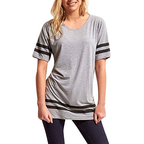 mioim Damen Sommer Kurzarm T-Shirt Oversized Streifen Rundhals Oberteile Casual Sport Lose Tops Bluse Shirt Grau