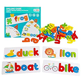 JCREN See Spelling Learning Toys Wooden ABC Alphabet Flash Cards Matching Shape Letters Puzzle Games Educational Developmental Toy Preschool Montessori STEM Gift Toys for Kids Toddler