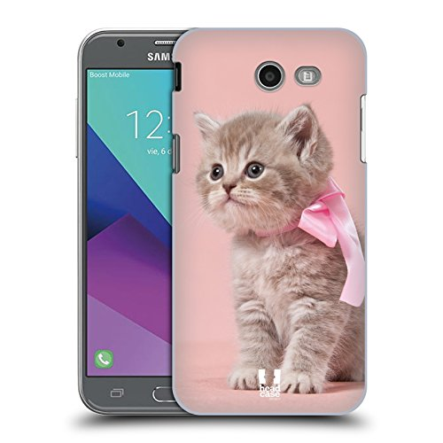Case+Film Ultra-Thin Polycarbonate Snap on Fits Samsung Galaxy J3 Luna Pro/J327P J3 2017 /Amp Prime 2/J3 Emerge/Express Prime 2 /Sol 2/J3 Prime Hard Back Cover Pink Cat/Kitty/Kitten with Bow