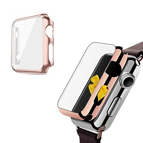 2win2buy wcase-c24 Apple Watch Series 1 Ultra Thin 9H Hardness Electroplate Screen Protector with Metal Bumper - 38 mm - Rose Gold