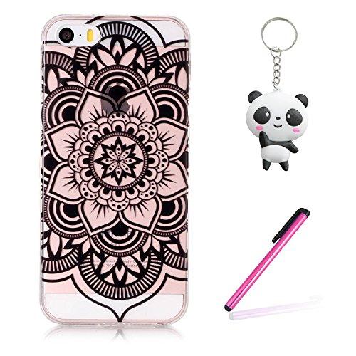 iPhone SE / 5 / 5S Hülle Schwarze Kunst Blume Premium Handy Tasche Schutz Transparent Schale Für Apple iPhone SE / 5 / 5S + Zwei Geschenk
