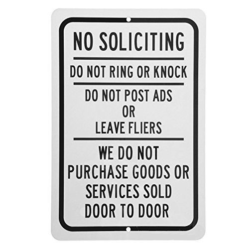 Aluminum Gloss Ring (No Soliciting Sign - Do Not Ring or Knock - Keep Solicitors Away -Aluminum 8